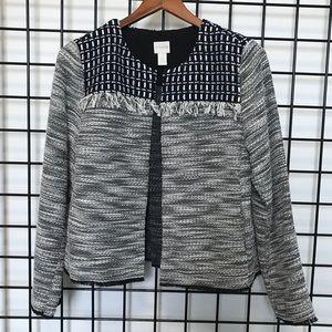 CHICOS tweed black, cream and navy jacket size 1